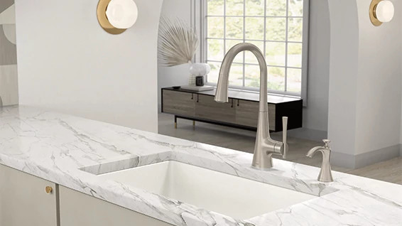 Style & Smarts, All In One: New Moen® Kurv™ Kitchen Faucet Marries Striking Design With Touchless, Voice-Activated Technology