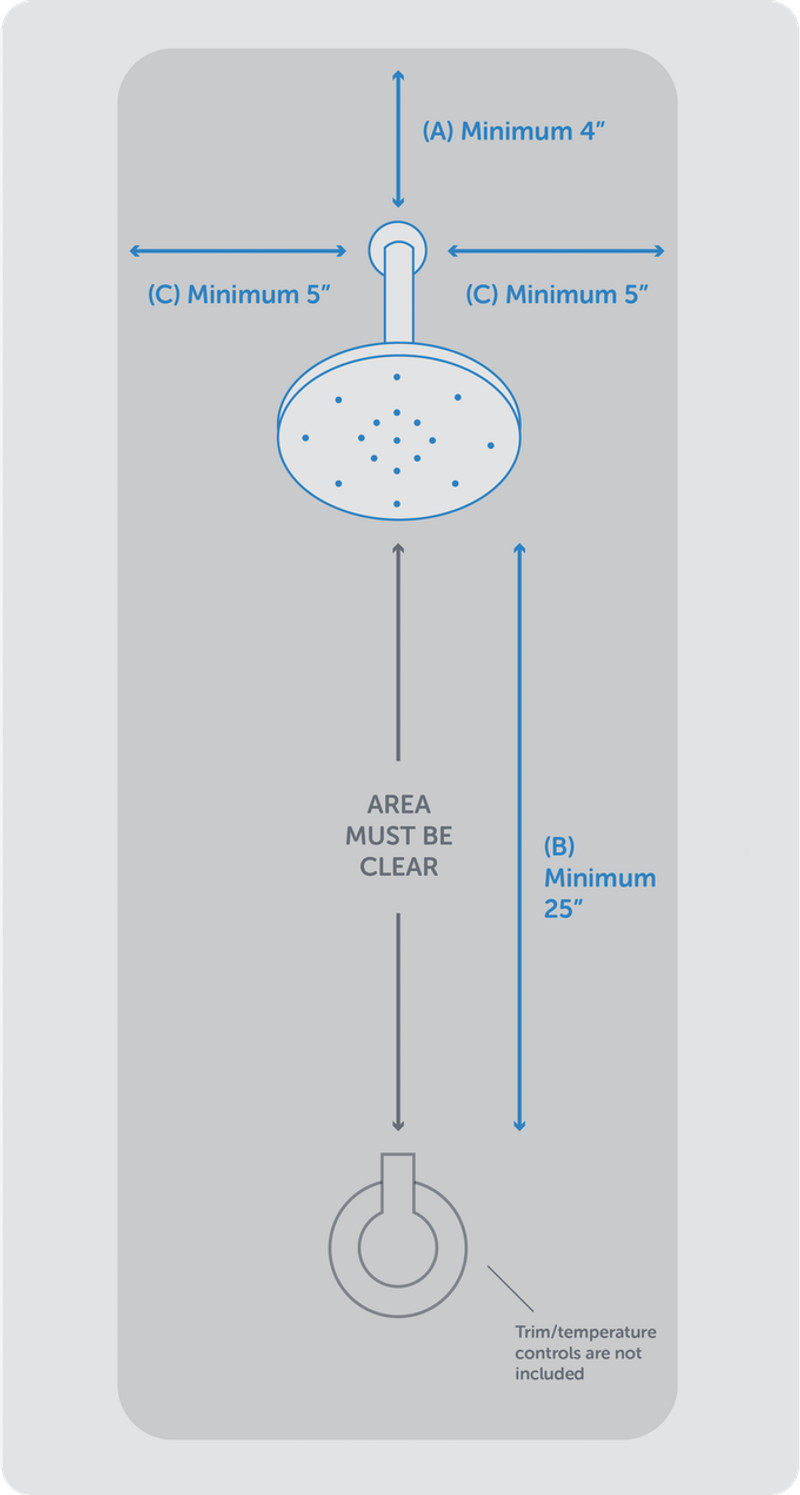 Spacing for Nebia by Moen Installation